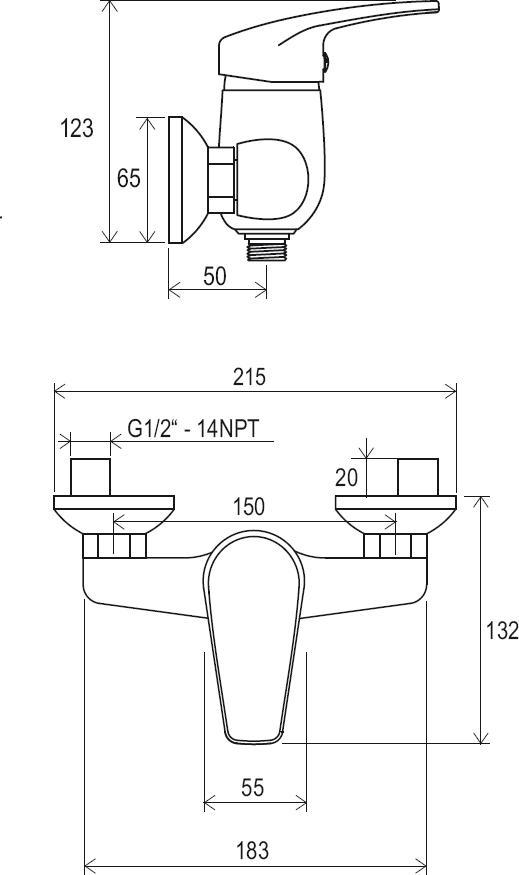 Neo fali zuhanycsaptelep szett nélkül, 150 mm