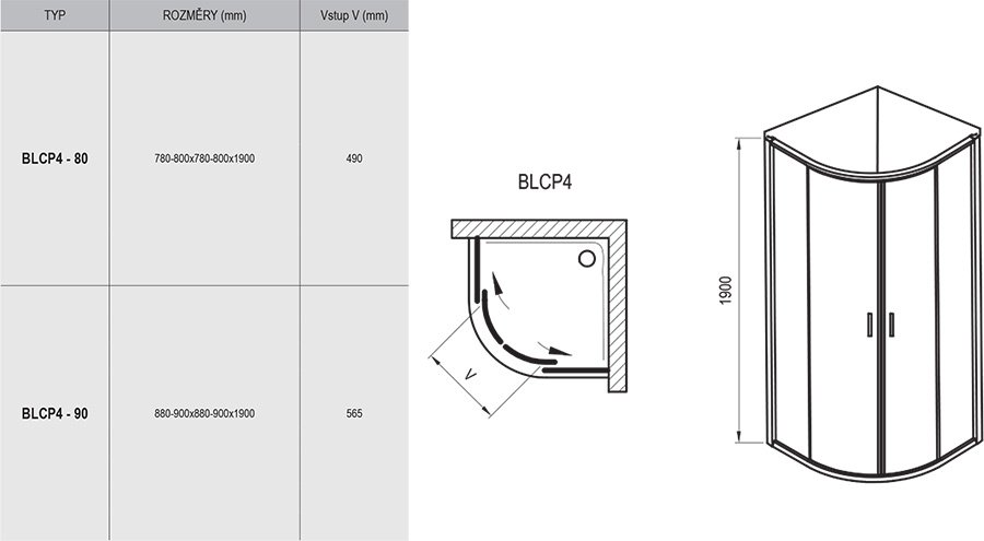 Blix BLCP4 négyrészes negyedköríves zuhanykabin