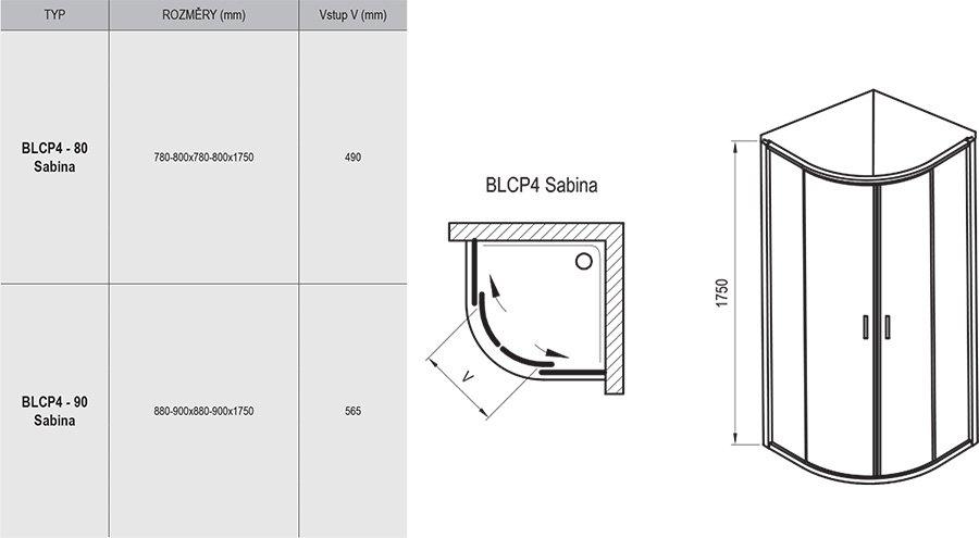 BLCP4 SABINA negyedköríves, tolóajtós zuhanykabin