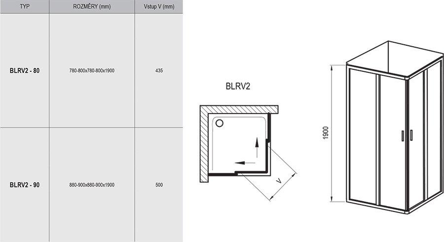 Blix BLRV2 sarokbelépős zuhanykabin