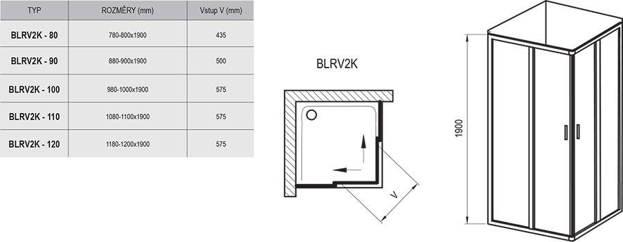 Blix BLRV2K sarokbelépős zuhanykabin