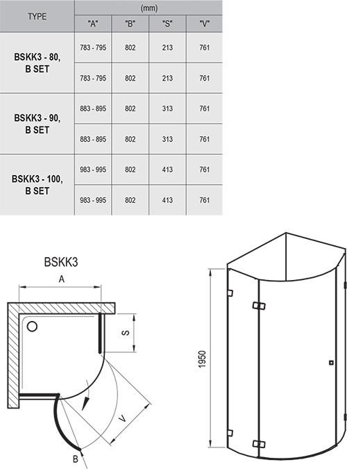 Brilliant BSKK3 háromrészes, negyedköríves zuhanykabin