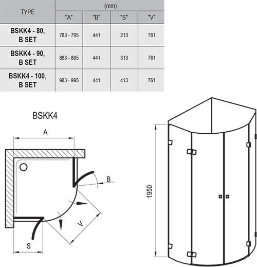 Brilliant BSKK4 négyrészes, negyedköríves zuhanykabin