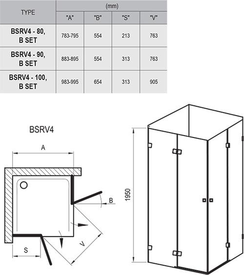 Brilliant BSRV4 négyrészes zuhanykabin sarokbelépéssel