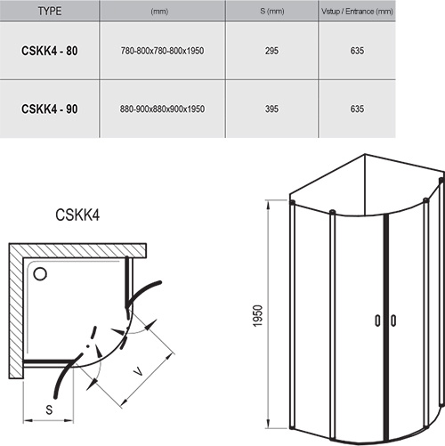 Chrome CSKK4 zuhanykabinok