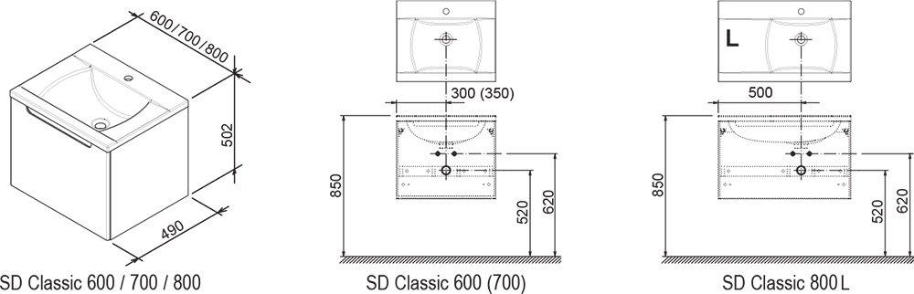 SD Classic 800 szekrény mosdó alá - Kifutó termék (készlet erejéig)