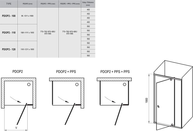 Pivot PDOP2 kétrészes kifelé nyíló zuhanyajtó