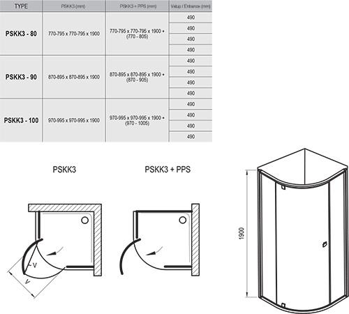 Pivot PSKK3 háromrészes negyedköríves kifelé nyíló zuhanysarok