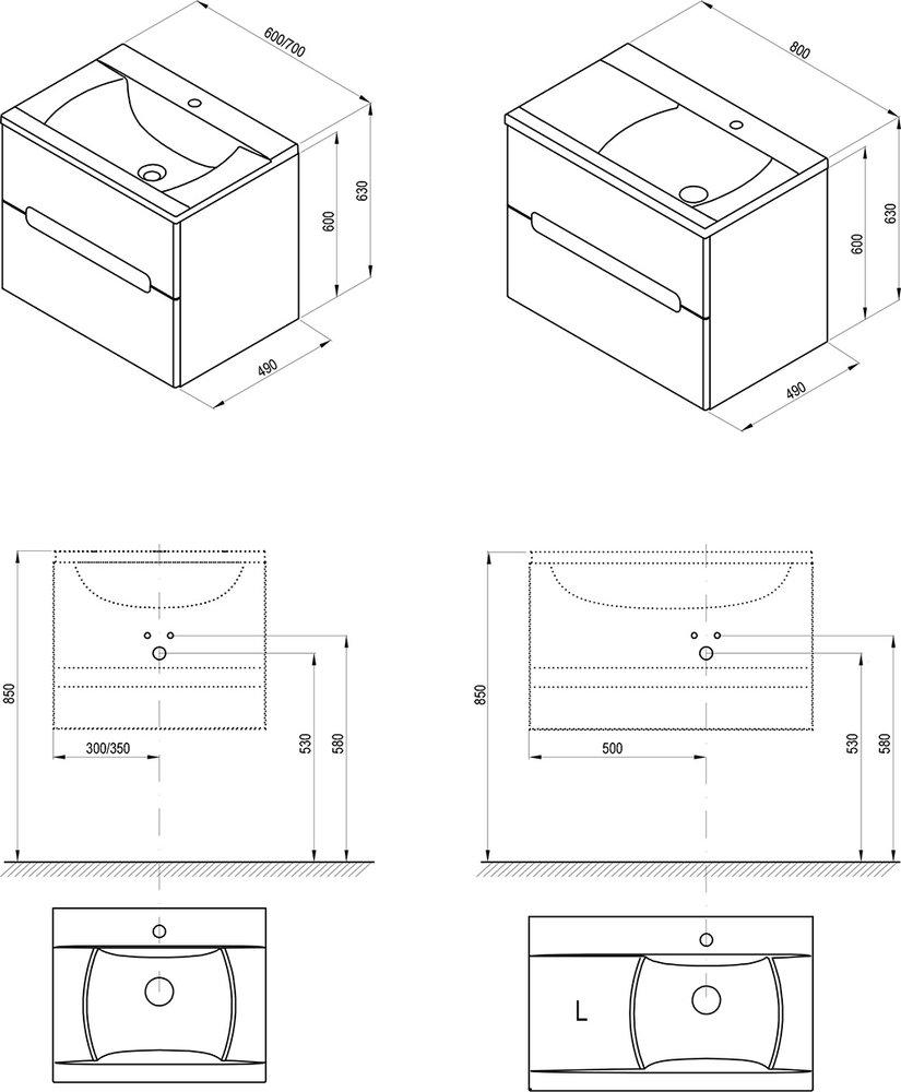 SD Classic II 600/700/800 szekrény mosdó alá