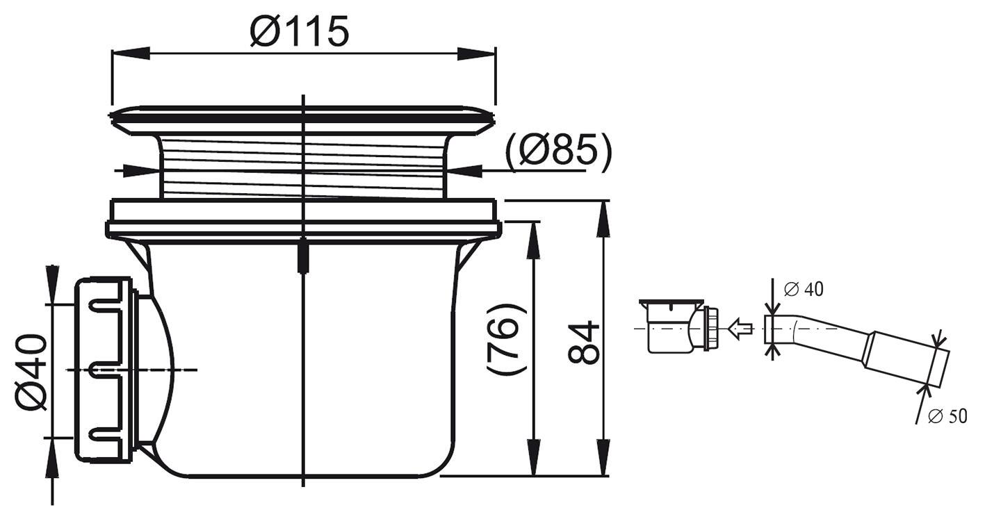 RAVAK Basic 90 zuhanytálca szifon
