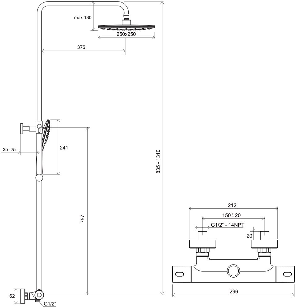 Termo 300 zuhanyoszlop TE 093.00/150