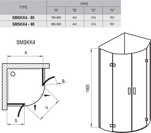 SmartLine SMSKK4 zuhanykabin