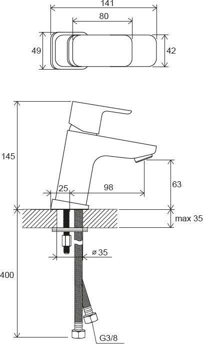 10° Free álló mosdócsaptelep leeresztő nélkül, 140 mm