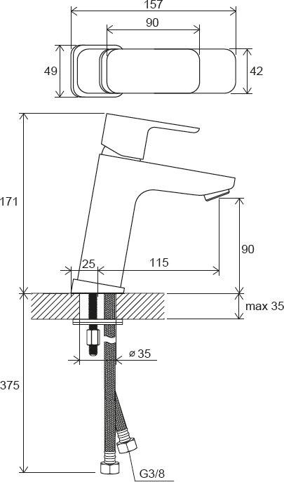 10° Free álló mosdócsaptelep leeresztő nélkül, 170 mm