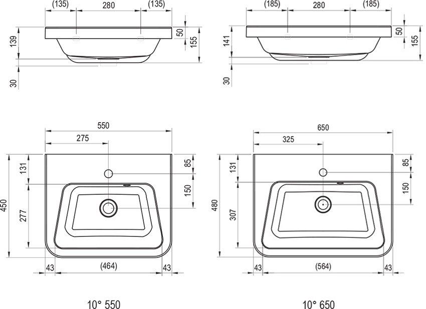 10° öntött márvány mosdó