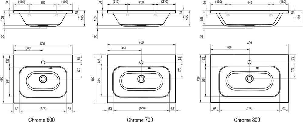 Chrome 600/700/800 mosdók