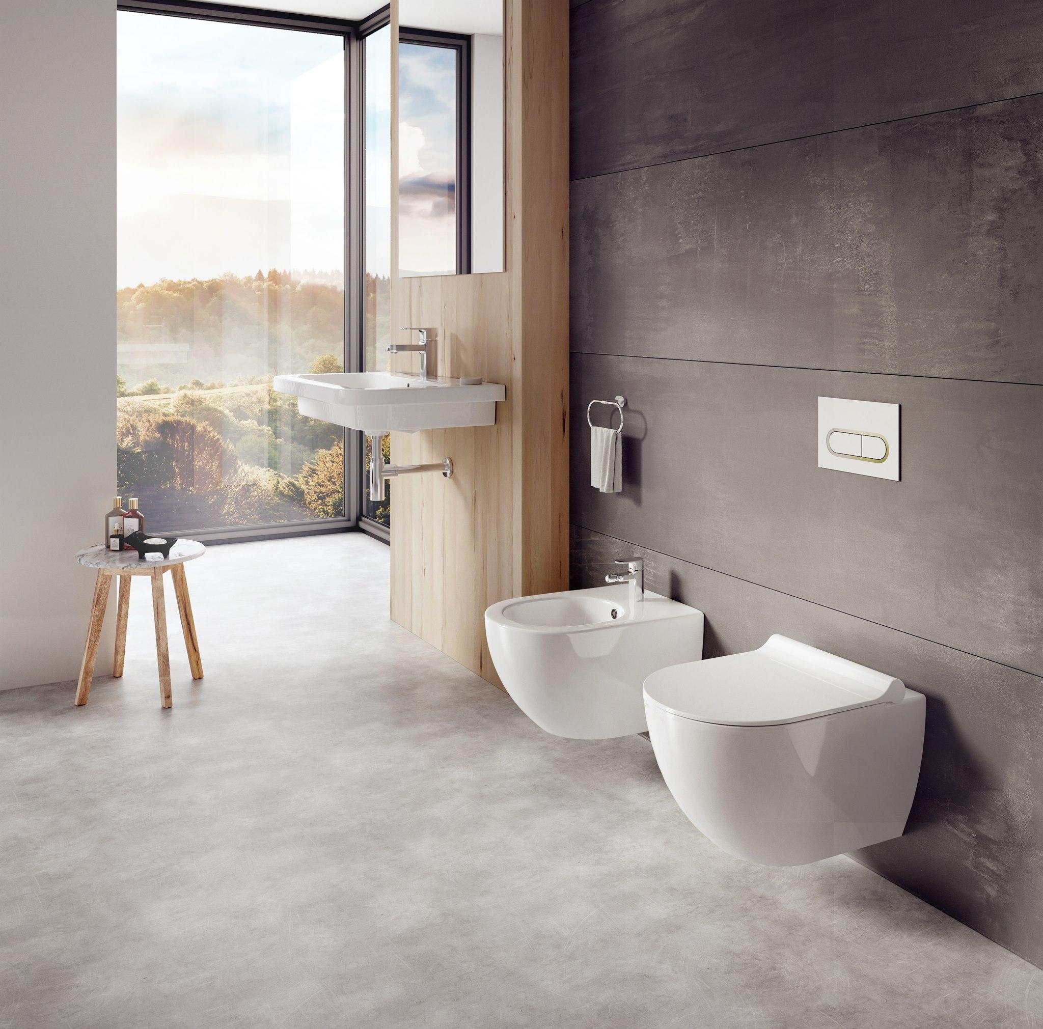 A stílus és hatékonyság jegyében készült, a legkisebb egységeiben is átgondolt fürdőszoba koncepció jellemzője a finom, ovális forma. Ez jellemző a wc-re és bidére is.