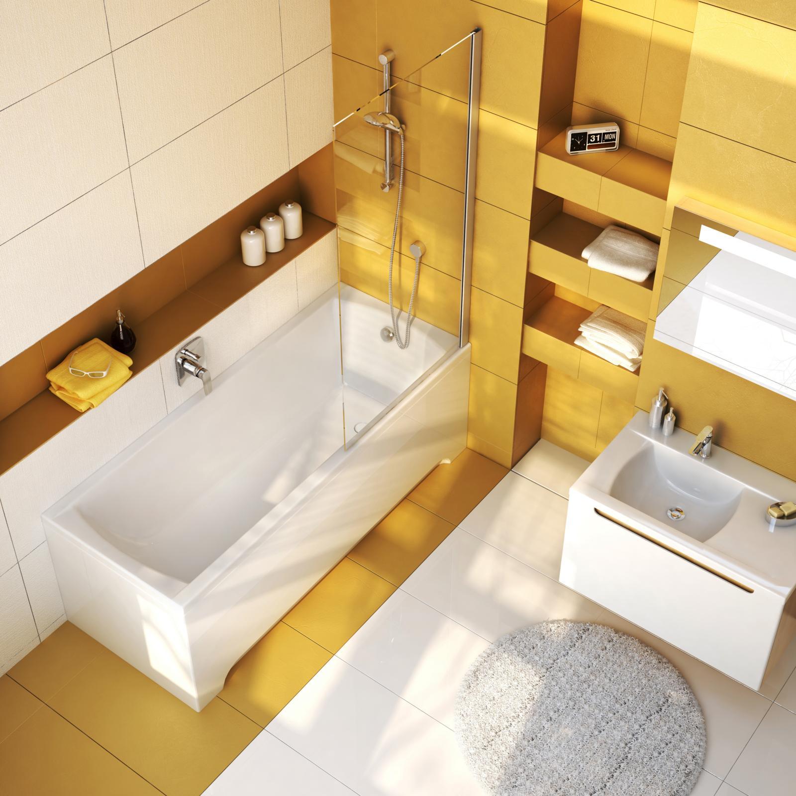 A kád keskeny szegélyei, finom peremei és lejtős oldalfala szokatlanul nagy belső teret eredményez. Alapos kádfenék miatt a zuhanyzás is kényelmes és biztonságos.