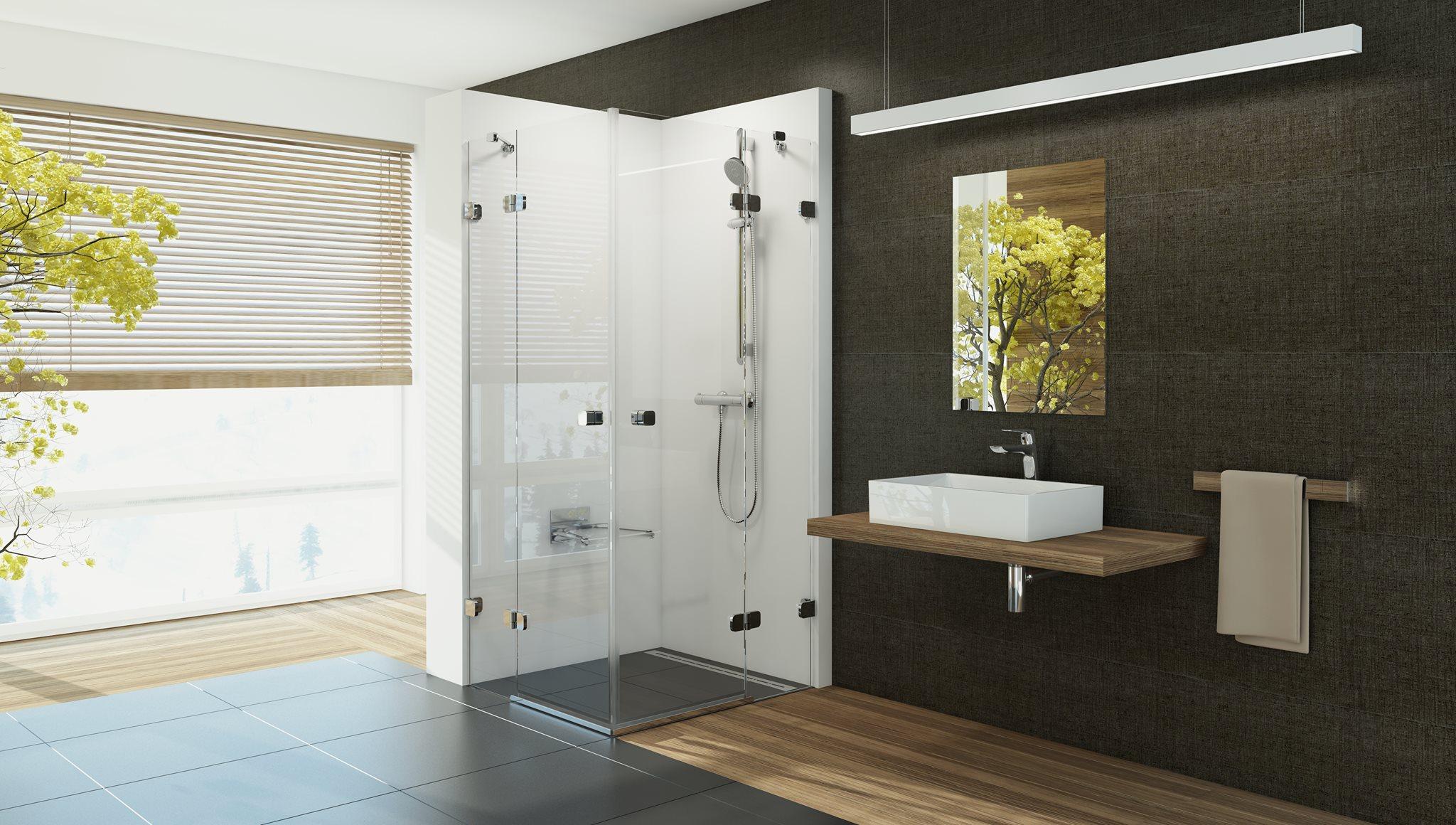 Az edzett biztonsági üvegekből, zsanérokkal vagy fali profillal, pántokkal erősített zuhanyzó optikailag tágasabbá, megjelenésében letisztulttá varázsolja a fürdőszobát.
