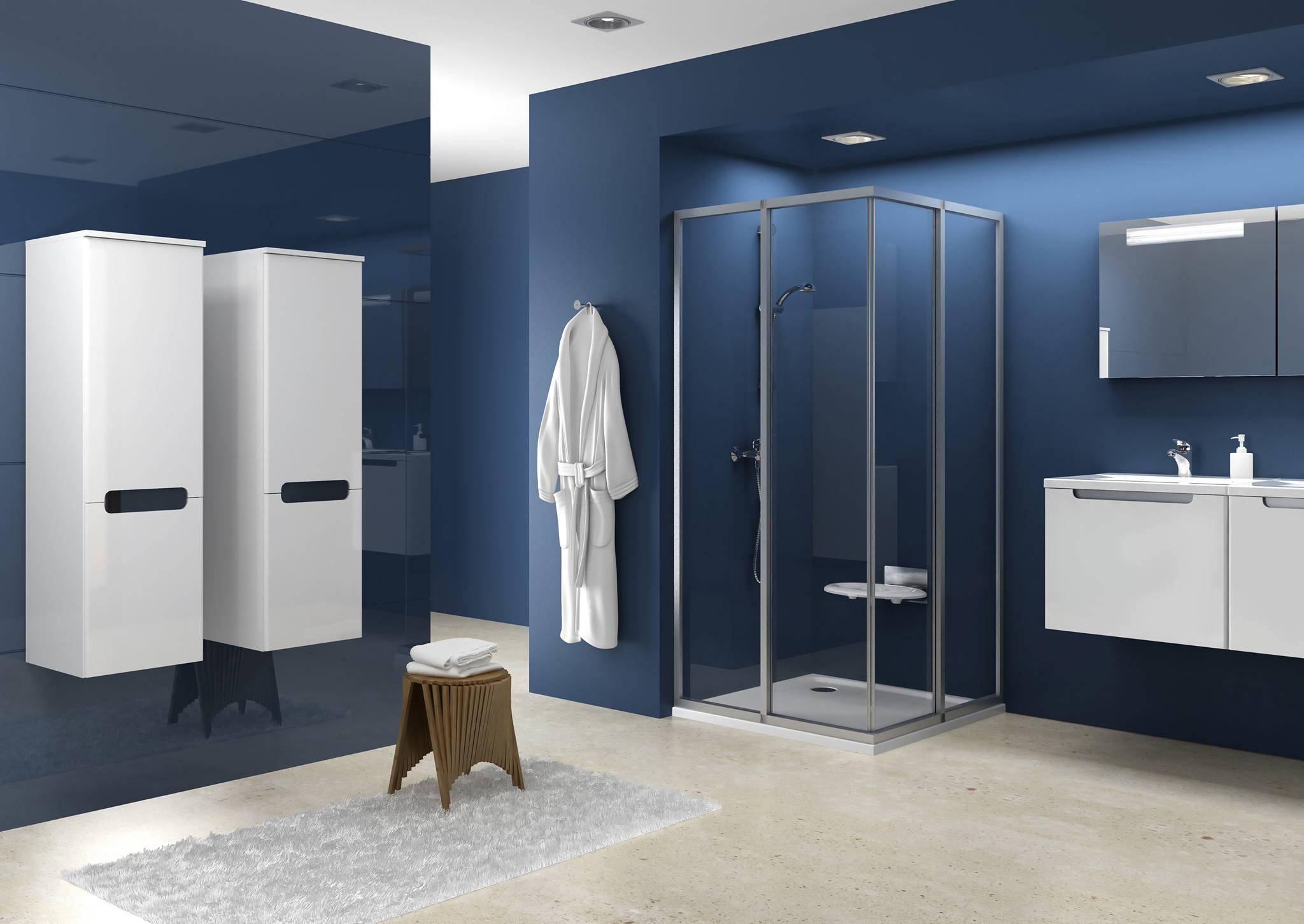 A keretes sarokbelépős zuhanykabin esetében az üveglapokat keretekbe helyezzük el, hogy nagyon gyakori használat mellett is tartósak maradjanak.