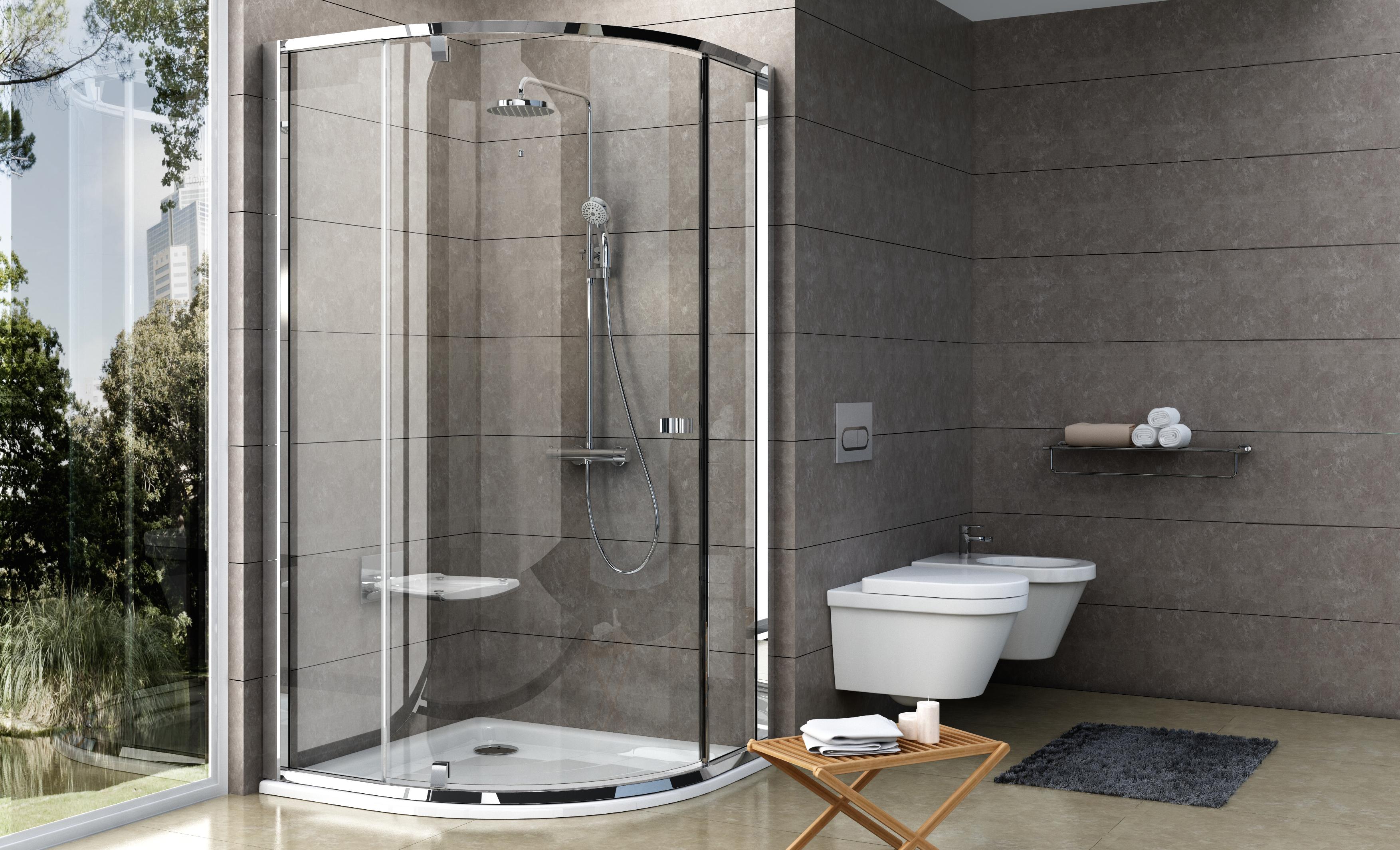 Egy negyedköríves zuhanyzó kialakítása igazán helytakarékos megoldás a fürdőszobában.