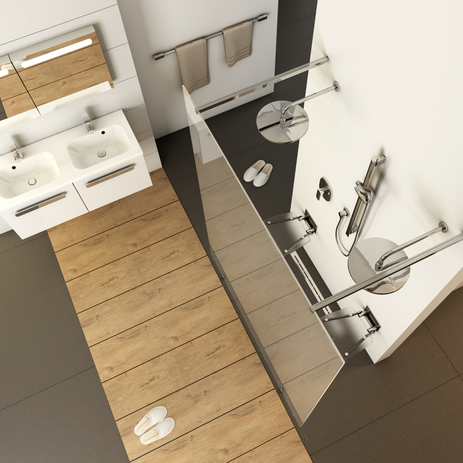 Javasoljuk, hogy fontolja meg egy téglalap alakú zuhanyzó kialakítását, mert sokkal kényelmesebben kihasználható, mint egy négyzet alakú.